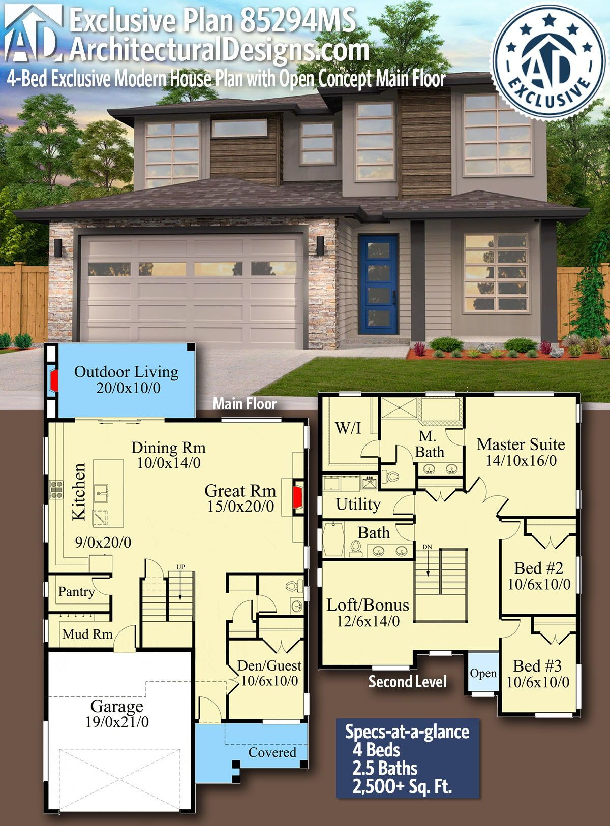 Plan 85294ms 4 Bed Exclusive Modern House Plan With Open Concept Main Floor In 2021 House Plans Modern House Plan Modern House