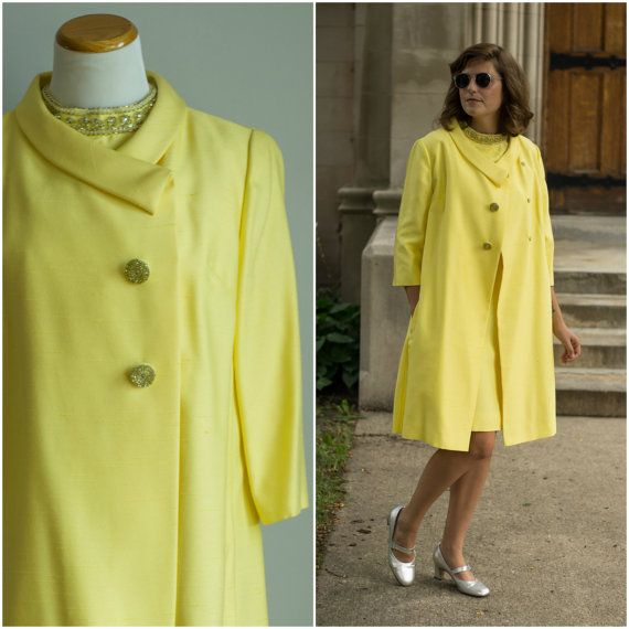 vintage 1960s dress and coat / 60s yellow silk set / 60s silk ...