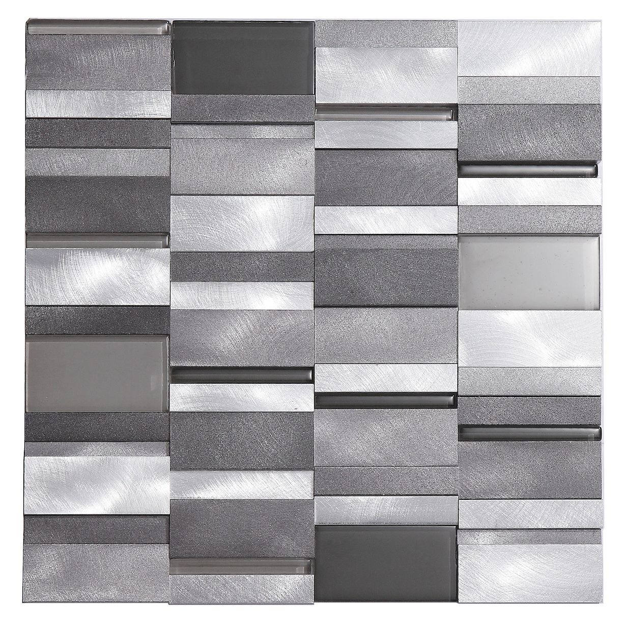 Aluminum tile silver mix modern pattern kitchen backsplash 3d tiles and mosaic backsplash Backsplash wall tile