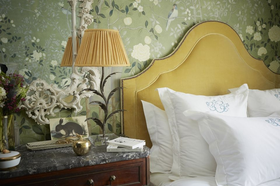 De gournay temple newsam design in special colourway on moss green williamsburg painted silk styling by tara craig