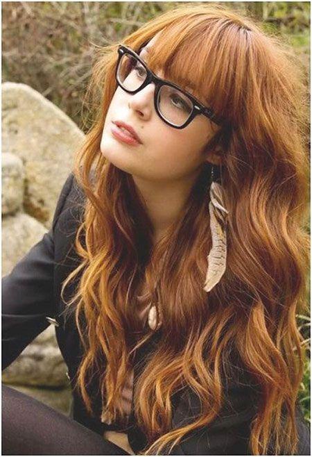 Straight Bangs Wavy Hair