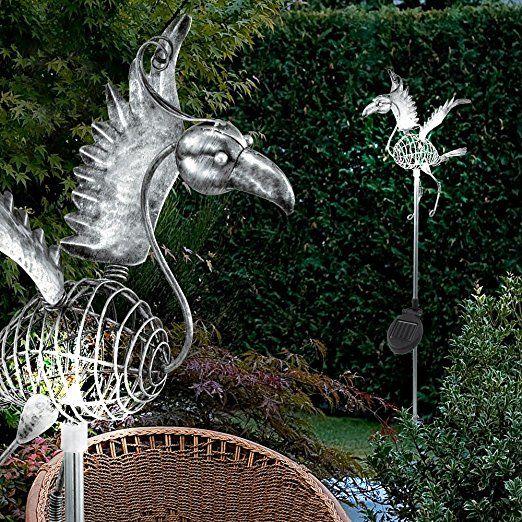 Led Solar Edelstahl Steck Steh Lampe Vogel Figur Schalter Leuchte