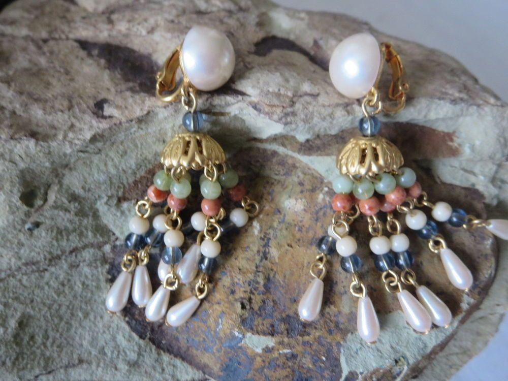 Vintage Lci Signed Gold Tone Dangle Beaded C And Pearl Earrings Clip On
