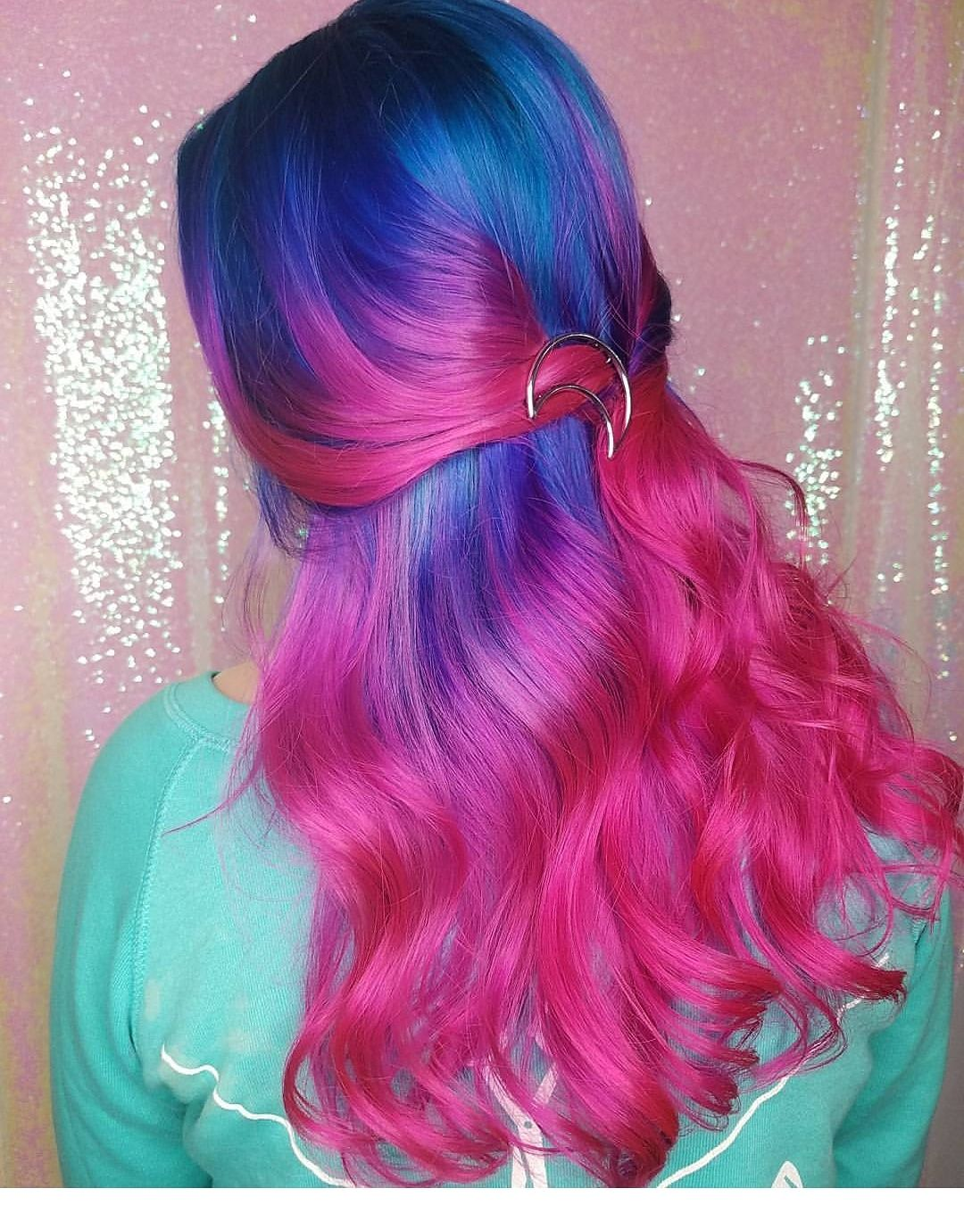Neon Cotton Candy Using Manic Panic Atomic Turquoise And Iroiro Hot Hot Pink Hair Beauty Skin Deals M Hair Ponytail Styles Magenta Hair Cotton Candy Hair