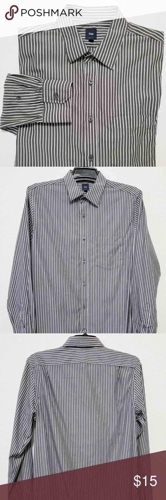 Gap Mens Gray White Striped Dress Shirt Gap Shirt Dress Shirt Dress White Striped Dress [ 1740 x 580 Pixel ]