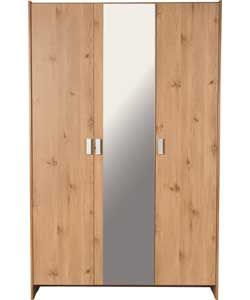 115 cm, good price. 2 doors hanging space, one door shelves. Also comes in white, oak effect.