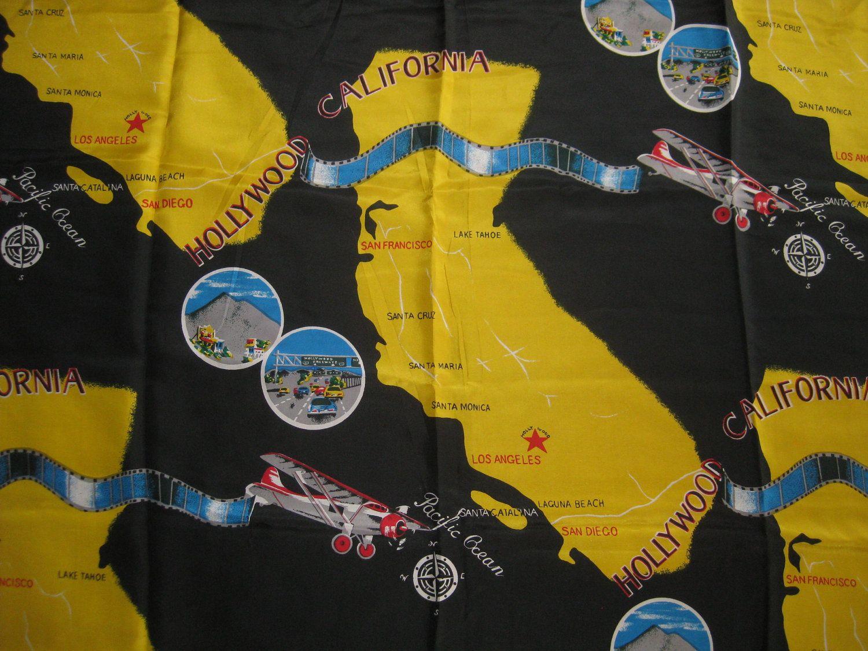 best vintage silk fabric california souvenir map 40s novelty print remnant 275 yards