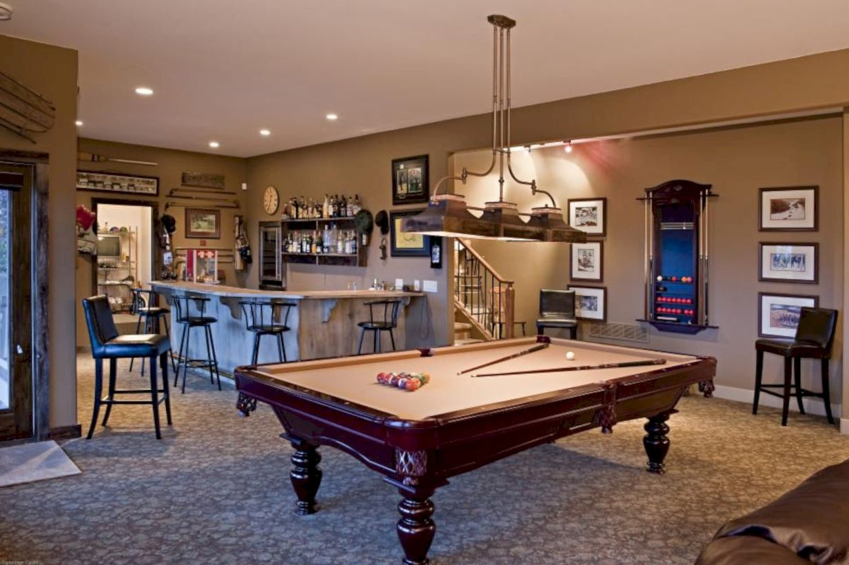 Particles left on the surface of the pool table can interfere with the balls rolling across the playing area. Awesome 50 Relaxing Basement Rec Room Ideas For Living ...