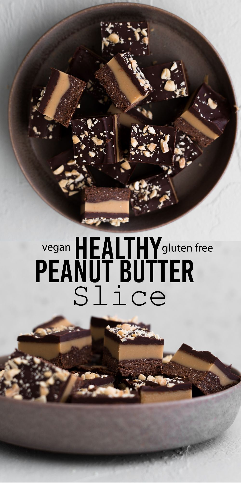 A delicious no-bake Vegan Peanut Butter Slice made with Desiccated Coconut, Peanut Butter, Dark Chocolate and other good-for-you ingredients! #vegan #glutenfree #chocolate #peanutbutter #healthy #raw #simple #nobake #simple #nocook #natural #brownies #bars #sliceandbakecookies