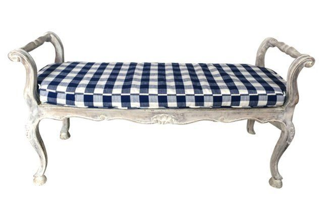 Whitewashed Country French Oak Bench