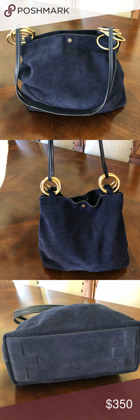 05408ad43469 Tory Burch Farrah Suede Shoulder Bag Tory Burch Navy Blue suede Farrah Used  twice Excellent Condition