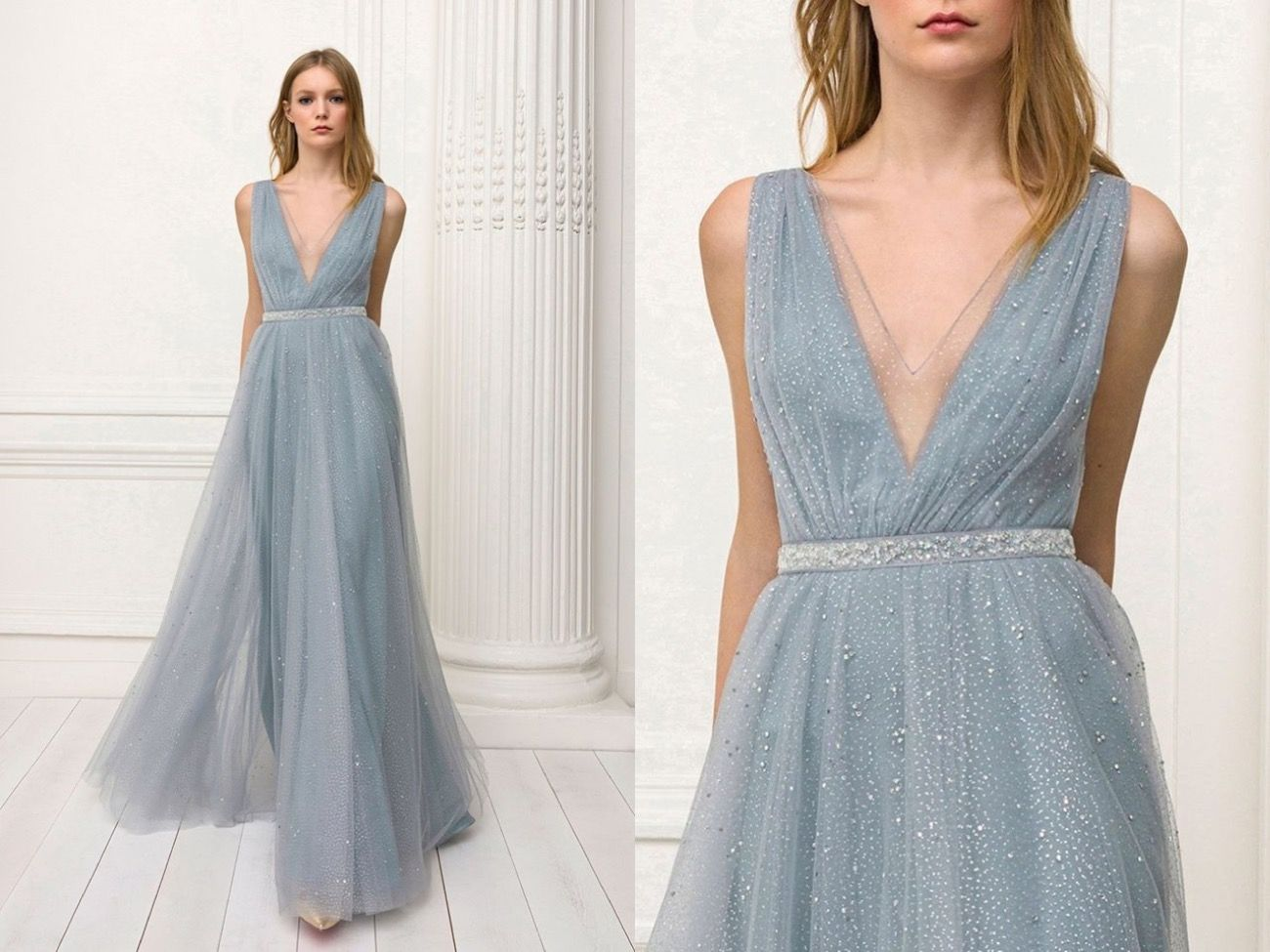 Jenny Packham This Dusty Blue Gown Is Sprinkled With Shimmering Details Allover Floral Mini Dress Outfit Dusty Blue Dress Elegant White Dress [ 975 x 1300 Pixel ]