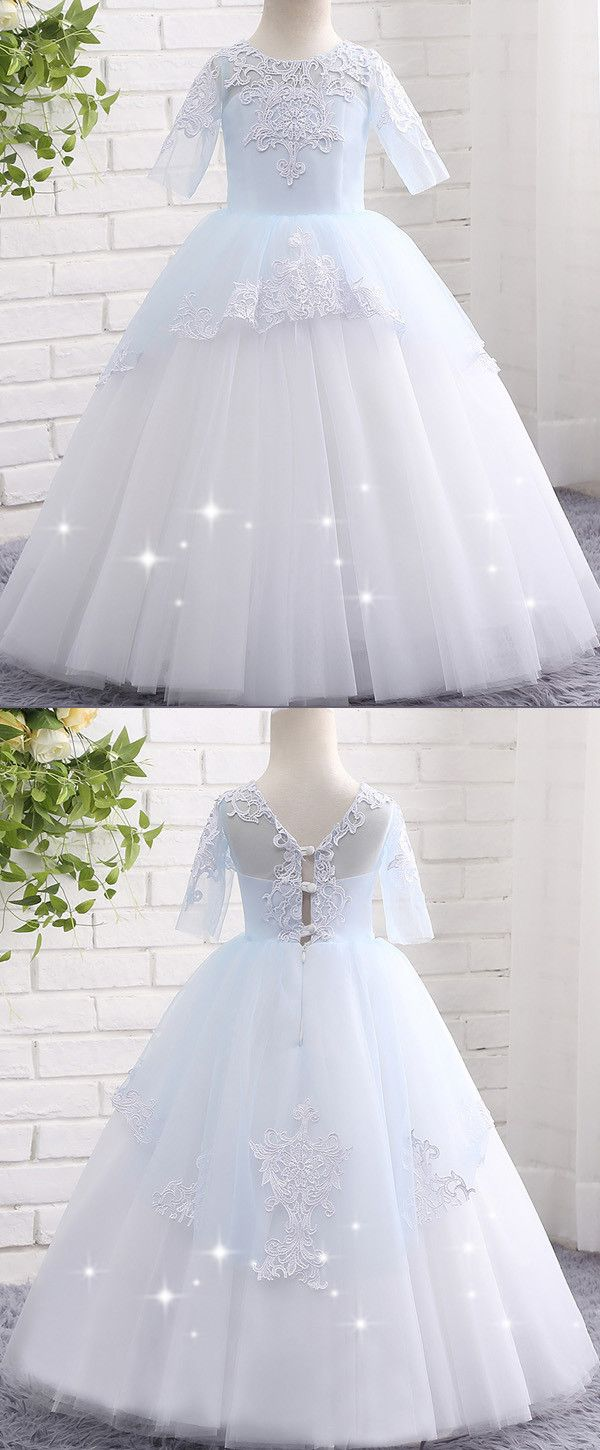 In stock attractive tulle jewel neckline short sleeves ball gown