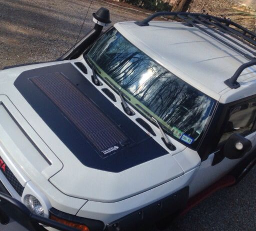 Flexible Solar Panel Mounted On Fj Hood Fj Cruiser Accessories Fj Cruiser Parts Fj Cruiser