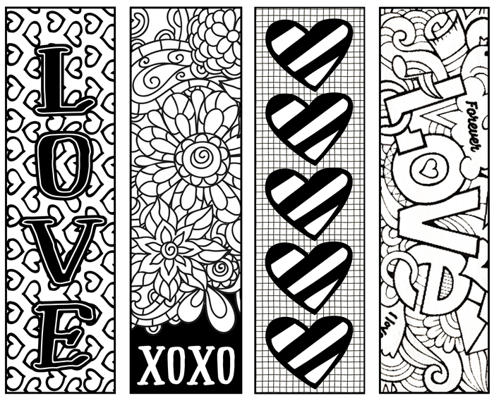 Valentine S Printable Bookmarks To Color Valentines Bookmarks Coloring Bookmarks Valentines Printables Free