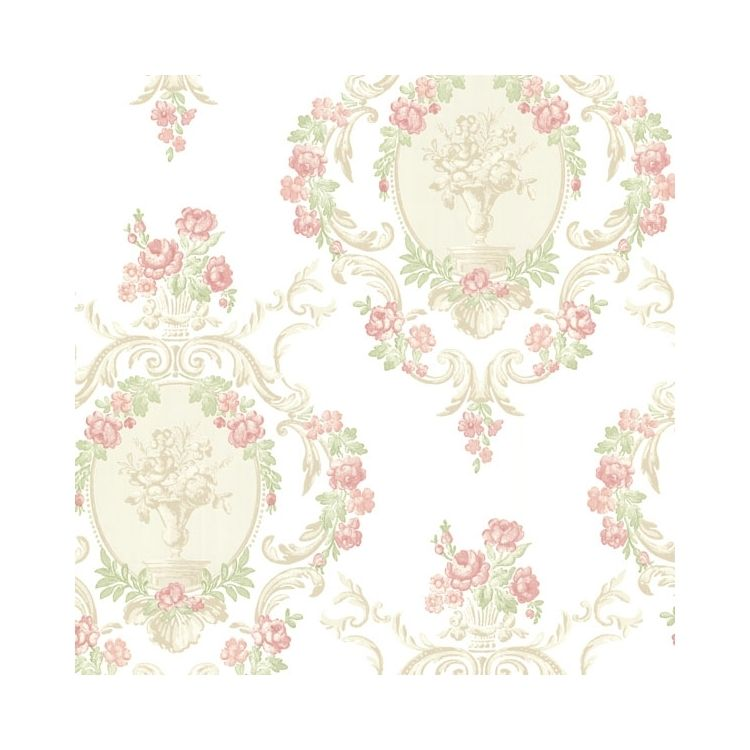 344-68742   Brewster Wallpaper   Maybelle Pink Cameo Damask   Pink