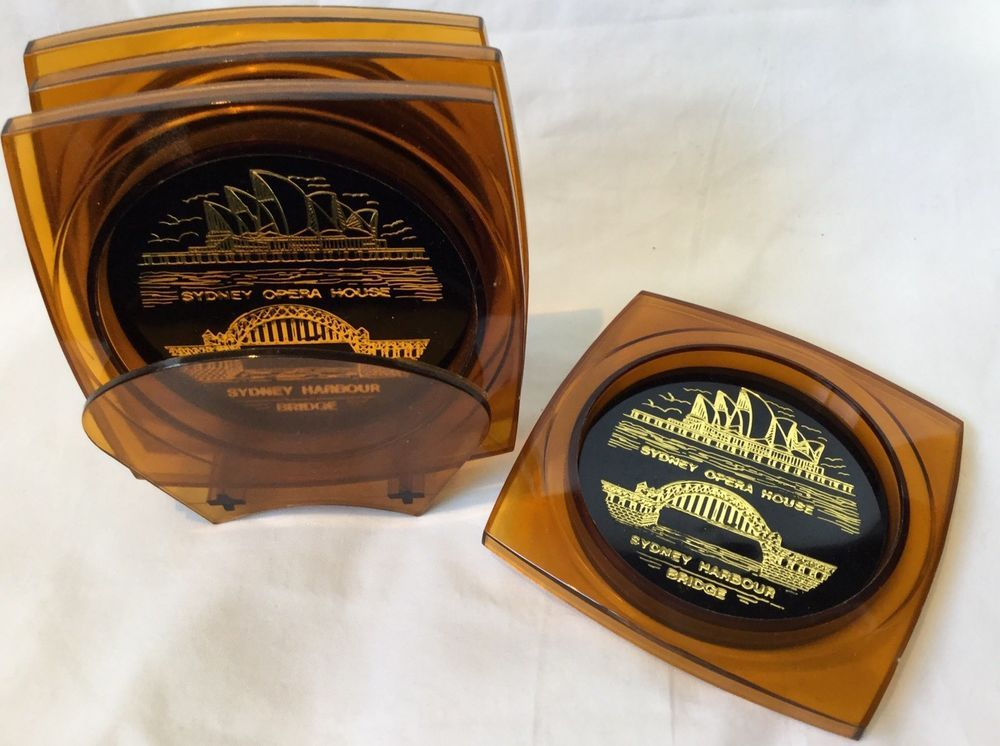 Retro Vtg Drink Coasters X6 Sydney Opera House Harbour Bridge Australiana