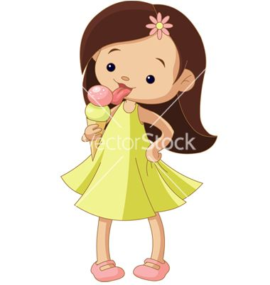 girl eating an ice cream vector