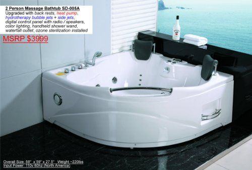 2 person whirlpool white corner bathtub spa with 11 massage jets and