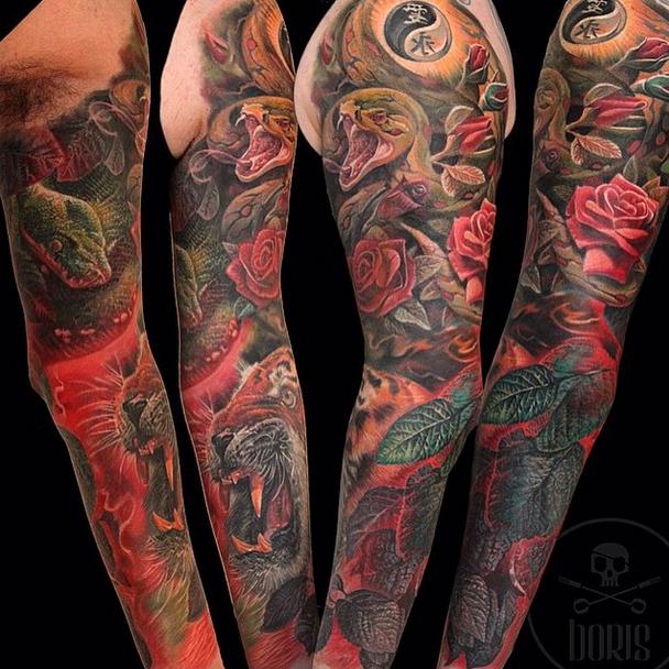 Multiple Tattoo Sleeve: Multiple Angles Of This Killer Nature/animal Inspired