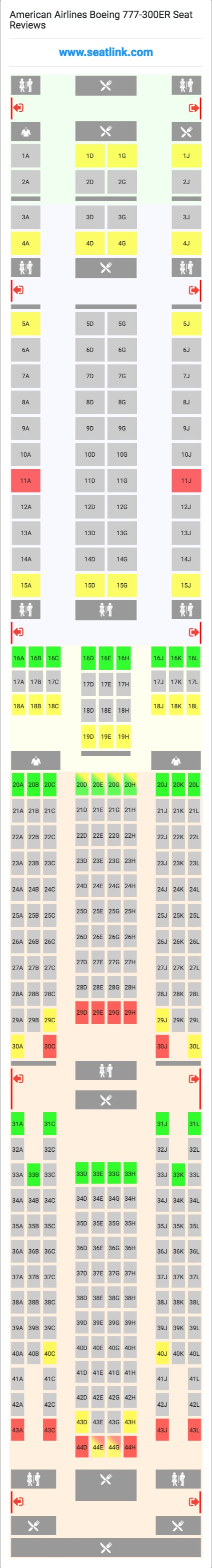 American Airlines Boeing 777 300er 77w Seat Map Delta Airlines