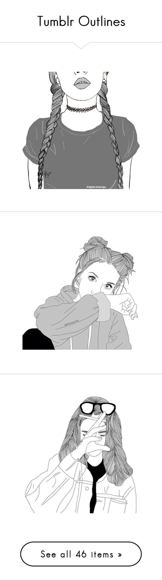 """""""Tumblr Outlines"""" by natalyyyyyya on Polyvore featuring filler, fillers, drawings, art, extras, pictures, outline, essentials, backgrounds and drawing:"""