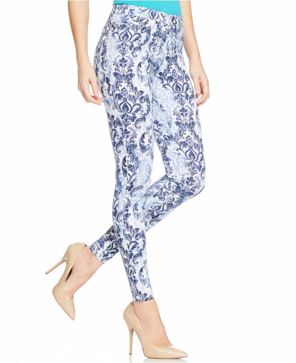 19.71$  Buy here - http://vilme.justgood.pw/vig/item.php?t=k38ssj1223 - Hue Denim Leggings Sz S Blue Scroll Print Super Smooth Denim Legging U15348H