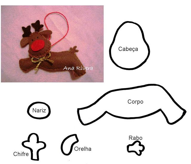 Diy Felt Rudolph The Red Nosed Reindeer Free Pattern Template
