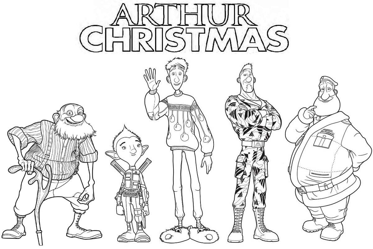 Arthur Christmas Characters Coloring Page With Images