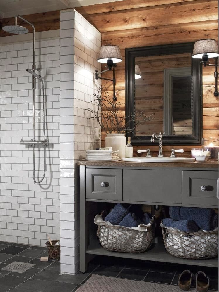 All blue in the mountains | Cabin bathrooms, Bathroom ...