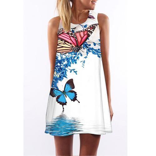 BHflutter Sleeveless Boho Beach Dress Women Floral Print Mini Summer Dress  2018 New A line Casual Chiffon Dresses Vestidos Mujer be32b1e1672d