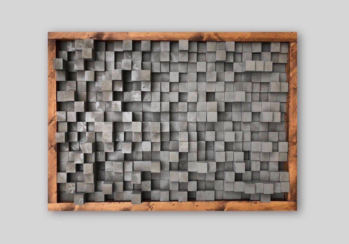 Reclaimed Wood Sound Diffuser Acoustic Panel Soundproofing Proof Pixel Art Grey Wood Art 3d Art Wooden Art New Studio Acoustic Panels Sound Proofing Wood Art