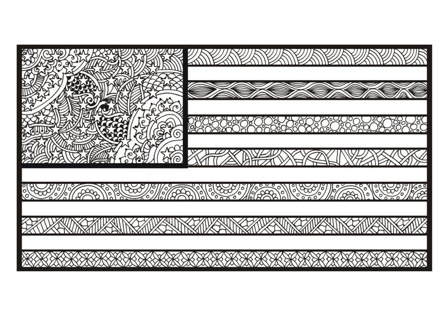 Zentangle USA Flag Coloring Page Printable July 4th Art Patriotic Title