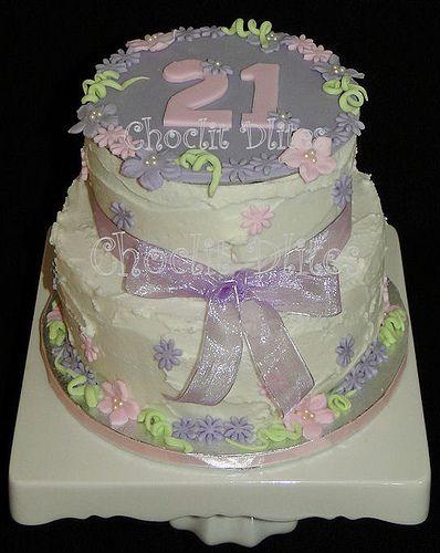 21st birthday cake - red velvet sponge with rustic buttercream finish