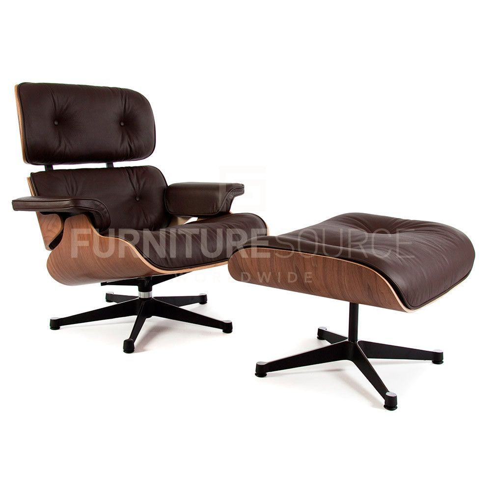 Lieblich Classic Lounge Chair With Ottoman Stool In Style Of Charles U0026 Ray Eames    Walnut And