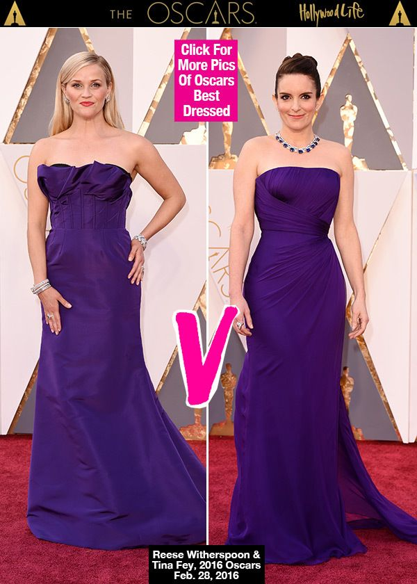 What are the odds that Tina Fey and Reese Witherspoon showed up in almost the exact same dress? These two lovely ladies both opted for bright purple on the red carpet of the 88th Academy Awards and we can't decide who rocked it better. Who do you think wore the purple gown best? VOTE.