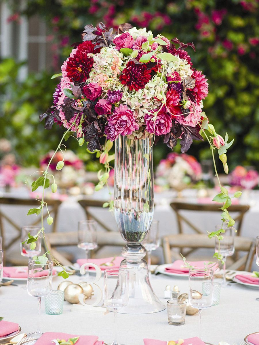 Tall Centerpieces With Dahlias Roses And Hydrangeas For Wedding