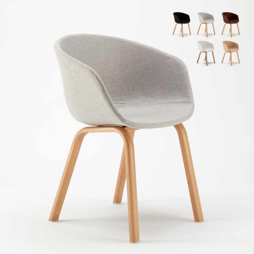 Sedia in Metallo Legno Tessuto per Cucina Bar Scandinavo