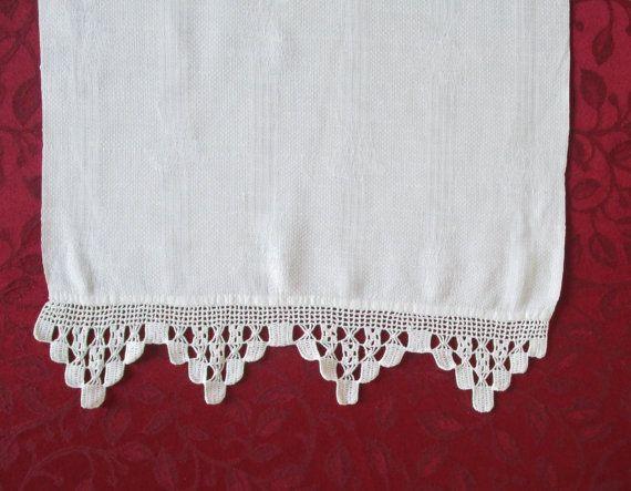 Vintage Table Runner White Crochet Ends by VintageLinenGallery