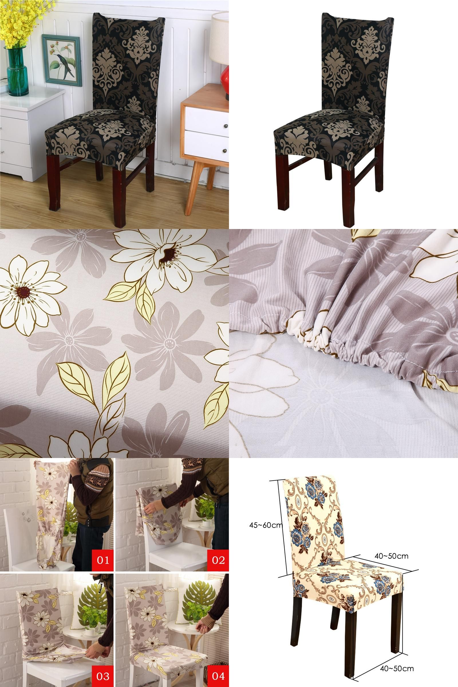 Visit to Buy Flower Printing Removable Chair Cover Stretch