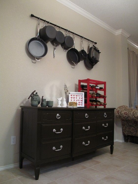Diy Pot Rack All You Need Is A Curtain Rod And Three Hooks In The Wall Add S Re Good To Go
