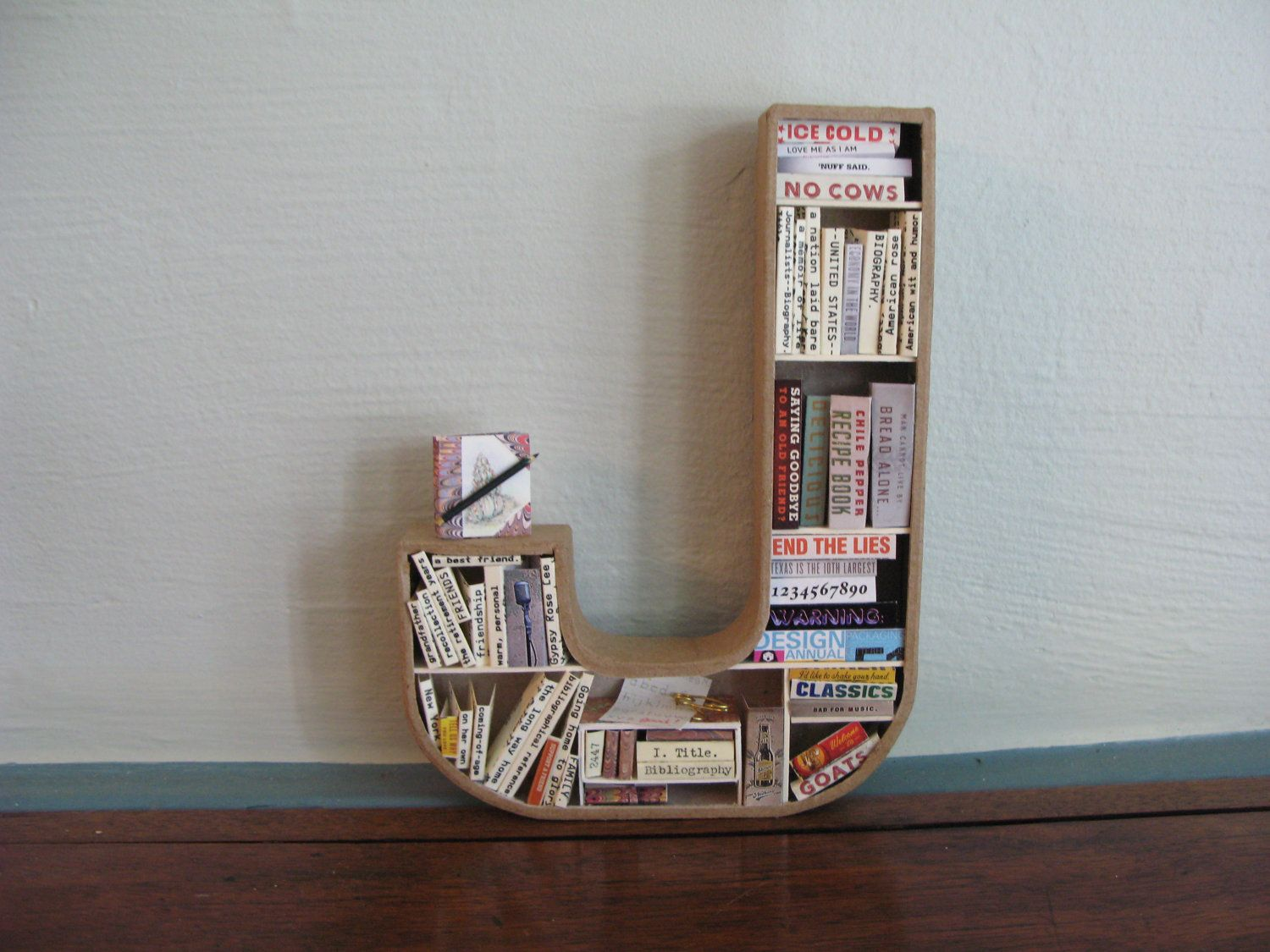 Mini Letter Bookshelf With Books Made Of Old Library Cards Perfect Christmas Or Baby Shower Gift