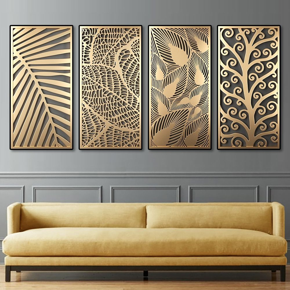 7.13US $ |Abstract Golden Plant Leaves Canvas Pain