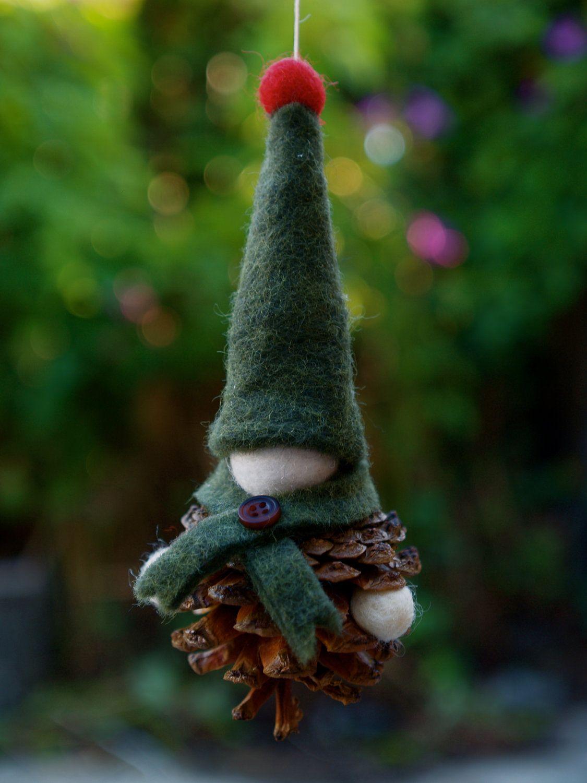 Gnome Pinecone Ornament Christmas Ornament Crafts Felt Christmas Ornaments Diy Christmas Ornaments