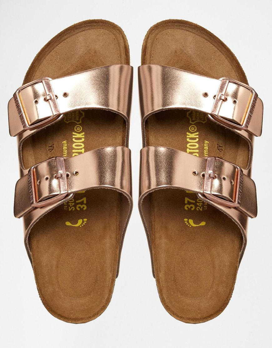 e21608be3ce8 Image 3 of Birkenstock Arizona Metallic Leather Copper Flat Sandals ...