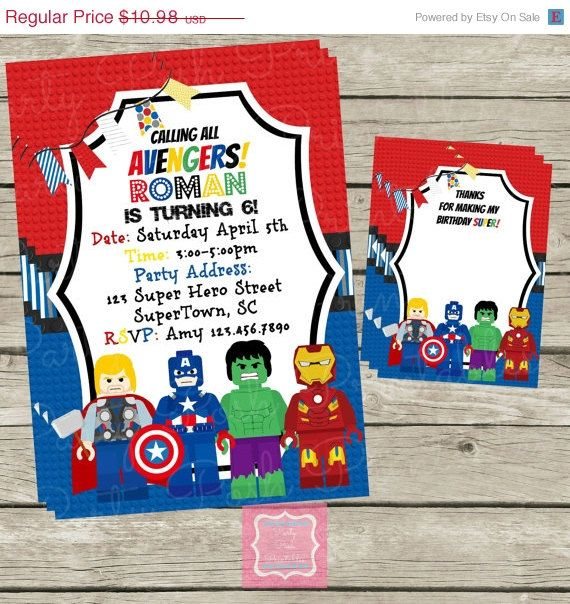 ON SALE Lego Avengers Invitations and Thank by PartyPoshPrintables ...