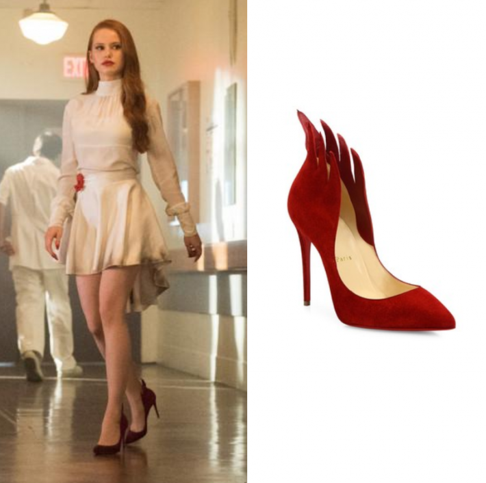 """Cheryl Blossom (Madelaine Petsch) wears these suede red flame heels in this episode of Riverdale, """"Chapter Fourteen: A Kiss Before Dying"""". It is the Christian Louboutin Victorina Suede Pump."""