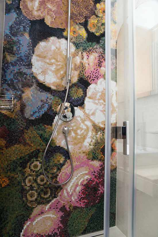 Floral Shower Mosaic Desire To Inspire Floral Tiles