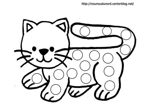 Coloriage à Gommettes Le Chat Dessiné Par Nounoudunord