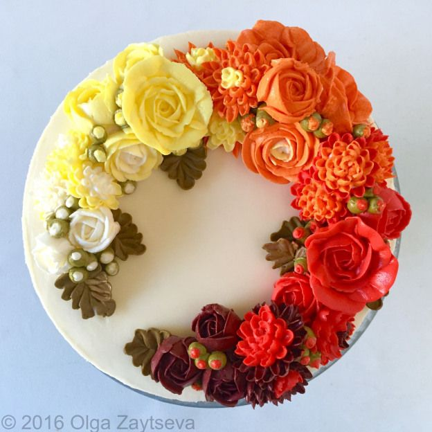 Buttercream ombre roses and chrysanthemums cake